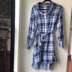BRAND NEW! Blue plaid shirt dress